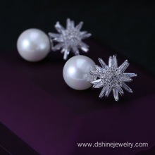 Crystal Zircon Pearl Earrings Stud Snowflake Shape Earring